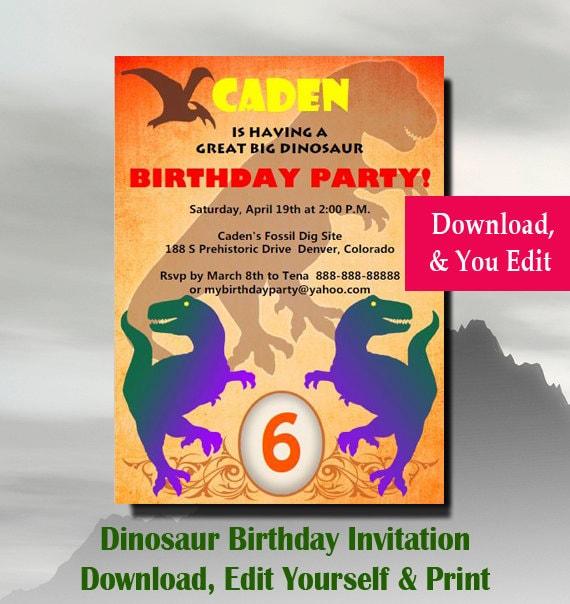 Dinosaur Invitation Dinosaur Birthday Invitation Dinosaur Birthday