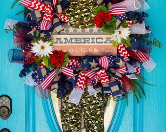 Deco Mesh Patriotic Wreath, Americana Wreath, Soldier Wreath, Military Wreath, Army Wreath, Navy Wreath, Air Force Wreath, Marines Wreath