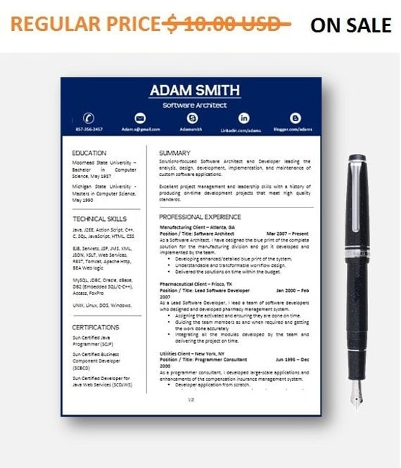 80% OFF SALE Resume Template   CV Template with add-on for extra pages, Cover and Reference Letters in Word format   Instant Download