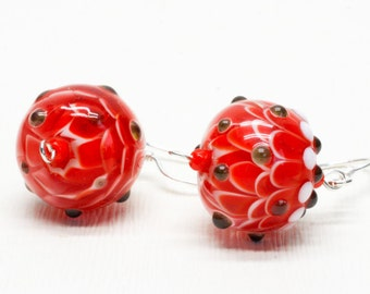 Red Earrings - Lampwork Earrings - Botanical Earrings - Flower Earrings  - Glass Bead Earrings - Gift for Her - Artisan Glass Beads