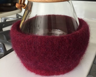 Dark and Light Burgundy Cozy for 8-Cup Chemex Coffee Brewer