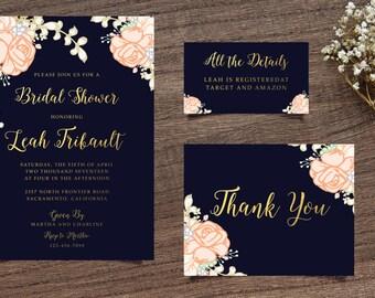 Floral Navy Invite, Navy Bridal Shower, Navy Shower Invite Handpainted Invite Floral Shower Invite, Bridal Shower Invite, Calligraphy Invite