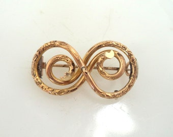 Antique Victorian Gold Filled Love Knot Brooch Pin Bar Pin