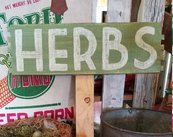 Herbs sign, Herb Garden decor, Garden sign, Garden decor, Green and white sign, Cottage garden decor