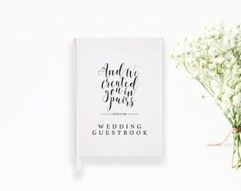 CUSTOM Wedding Nikkah Guest book Islamic Inspired Quote - Arabic Calligraphy - Islamic Art - Islamic Wedding - Muslim Wedding - Journal