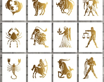 Zodiac Signs Printable Set of 12 Prints Gold Aries Leo Sagittarius Taurus Virgo Capricorn Gemini Libra Scorpio Digital Art Instant Download