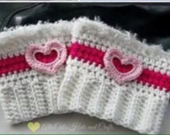 Valentine's Day Boot Cuffs- Crochet Boot Cuffs- Heart Boot Cuffs - Crochet Cup Cozy