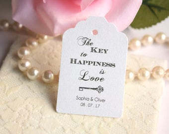 Custom Key to Happiness Wedding Favor Tags, Custom Love is the Key Favor Tags, Bridal Shower Tags  - Set of 20