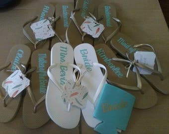 Gold Bridal party Flip flops, Wedding dancing shoes, Ladies Flip flops, Gift for Bridesmaids