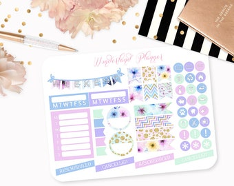 Spring Florals - Pastel Flower Themed Planner Stickers // Icons, Banners + Flags // Perfect for Erin Condren Vertical Life Planner