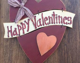 Primitive Wooden Valentine Heart