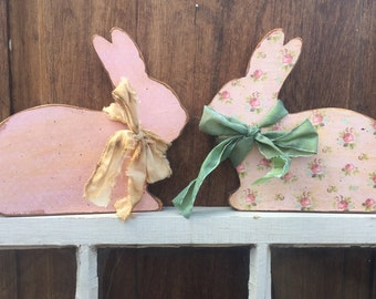 Shabby Chic Wood Easter Bunny