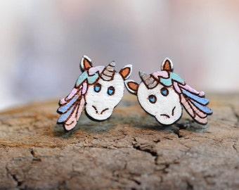 Earrings from wooden * Unicorn *.