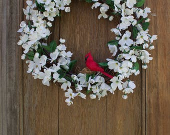 Dogwood Wreath, Spring Wreath, Cardinal Wreath, Bird Wreath, Carolina Wreath, Spring Decor, Front Door Wreath, Dogwood, Virginia Wreath