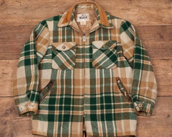 "Mens Vintage Woolrich 1960s Green Wool Plaid Jacket Talon Zip Medium 42"" R5525"