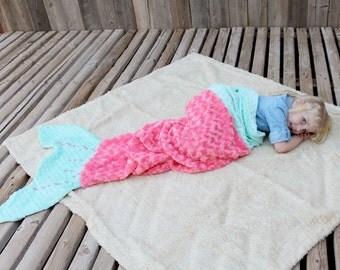Mermaid Tail Blanket - Minky & Satin Mermaid Tail Blanket -  Custom Blanket - Kids/Teen/Adult Mermaid Sleep Sack - Mermaid Wrap - girls room