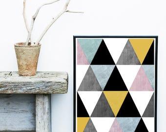 Geometric Poster, Triangle Print,  Mid Century Modern, Abstract Art Print, Giclee print, Wall Art,  Home Decor, Wall Prints