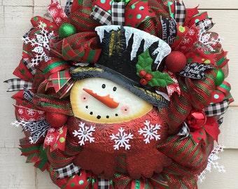 Christmas wreath,Snowman wreath,Winter wreath,Snowflake wreath,Red and green wreath,Christmas whimsical wreath,Top hat wreath,Christmas gift