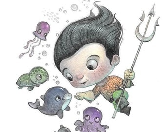 "11X14"" Baby Aquaman,  the boy Arthur Curry,  Color Print, Signed by the artist, Will Terry"