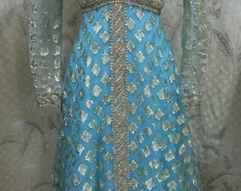 SALE: WAS 188.00,  Vintage 1970s Mike Benet Blue and Silver Evening Gown