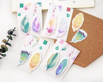 Feather Sticky Notes, Post-It, Nature Stationary, Office School Supplies