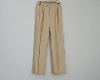 Vintage 80s 90s tan high waisted pleated pants // Size S