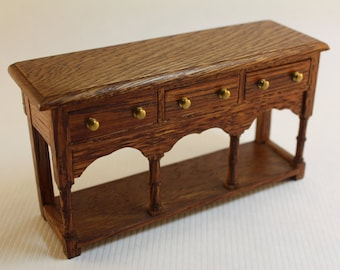 Dollhouse Miniature Handmade Real Oak Buffet or Sideboard Imported from Wales (1/12 Scale)