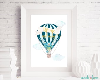 Hot Air Balloon Decor, Up Up and Away Baby Shower Printable Party Decor, Nursery Wall Art, Printable Party Sign, Instant Download, Birthday