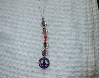 Purple peace sign with glow in the dark beads and heart rear view mirror charm