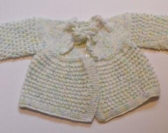Multicoloured fleck matinee baby cardigan