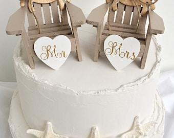 Adirondack Chairs Cake Topper,Beach Wedding Crab Cake Topper,Mini Adirondack Chair Set,Beach Wedding Cake Topper,Beach Chairs Cake Topper