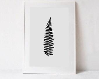 Fern Print, Large Botanical Print, Minimalist Poster, Minimal INSTANT DOWNLOAD Fern Art, Neutral Decor PRINTABLE Wall Art Print Nature Print