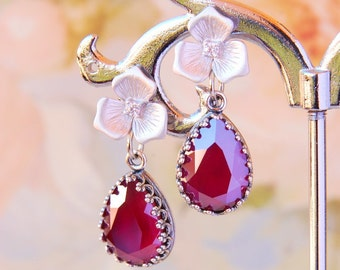 Burgundy Wedding Earrings Swarovski Dark Red Crystal Earrings Burgundy Bridal Earrings Silver Flower CZ Stud Earrings Burgundy Jewelry