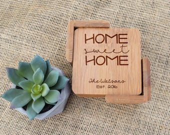 Home Sweet Home & Last Name Coaster Set, Custom Coasters, Personalized Coasters, Laser Engraved, Wood, Bamboo, Housewarming, Wedding, Gift
