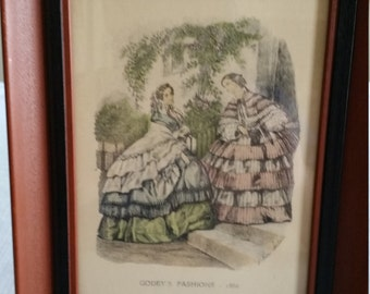 vintage framed godey paris 1960's litho fashion folk art colored print - wall hanging 1850 women - c & a of boston mass - picture photo home