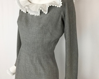 Vintage Dress with Dramatic Collar and Sleeves || Grey Wool Wiggle Dress || Pleated Ruffles 1960's Dress
