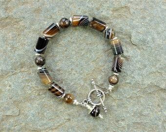 Agate bracelet, banded agate, gemstone bracelet, silver bracelet, silver jewelry, sterling silver toggle clasp, beaded bracelet, handmade