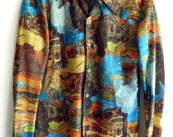 Rare 1970's Collectible Van Gogh Famous Painters Art Painting Disco Polyester Photo Print Men's Shirt