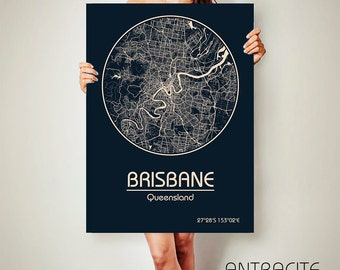 BRISBANE Australia CANVAS Map Brisbane Australia Poster City Map Brisbane Art Print Brisbane poster Brisbane map art Poster Brisbane map