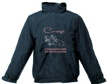 PERSONALISED PRINTED COURAGE Pony Jacket Riding Horse Waterproof Hood Regatta
