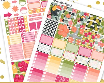 50%off TROPICAL PRINTABLE Planner Stickers   Instant Download   Pdf and Jpg Format