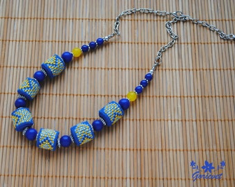 Blue necklace lapis lazuli stone necklace boho jewelry cobalt blue summer jewelry birthday gift for women fabric necklace embroidery jewelry