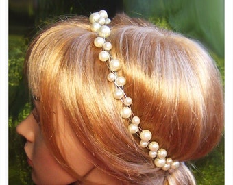 Bead wreath tiara with pearls wedding bridal wreath tiara wedding bridal tiara with pearls wedding bride