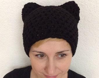 Pussyhat-Black Pussyhat-Black Pussycat Hat-Black Pussy Hat-Pussy Hat-Woman's Pussyhat-Kids Pussyhat