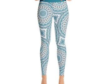 Print Yoga Leggings. Stretch Yoga Pants. Ocean Inspired Boho Leggings. Mediterranean Blue and White Leggings for Women