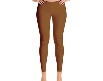 Chocolate Brown Leggings - Mid Rise Waist Yoga Pants, Workout Clothes for Women