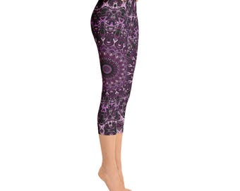 Capris - Graphic Print Workout Pants, Hooping Leggings, Performance Wear, Festival Clothing