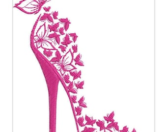 BUTTERFLY SHOE   machine embroidery download  5 diff sizes ( 7X9   6X8  5X7  4X6     3,35 X3 77 )