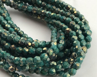 Green Persian Turquoise Bronze Fire Polished Czech Glass 4mm Round Beads