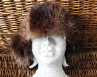 Trapper fur & suede Hat/ Fur Hat/Suede hat/Trapper fur hat/Trapper leather hat/Vintage trapper hat